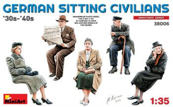 38006  German Sitting Sivilians '30s-'40s