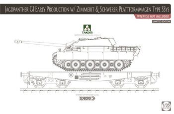 2125X 1/35 Jagdpanther G1 early production w/ Zimmerit & Schwerer Plattformwagen Type SSys