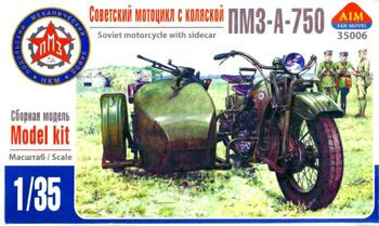 35006  PMZ-A-750 Soviet motorcycle with sidecar