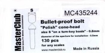 "MC435244 ""Polish"" cone-head  bullet-proof bolt, diameter of the head-0.8mm; diameter of the aperture"