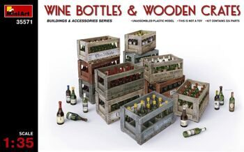 35571  Wine Bottles & Wooden Crates