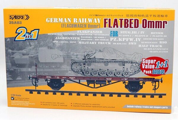 35A03-SVP 1/35 German Railway FLATBED Ommr (2 in 1) Super value pack (1+1) - Double kits