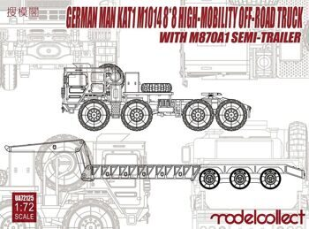 UA72125 German MAN KAT1M1014 8*8 HIGH-Mobility off-road truck with M870A1 semi-trailer