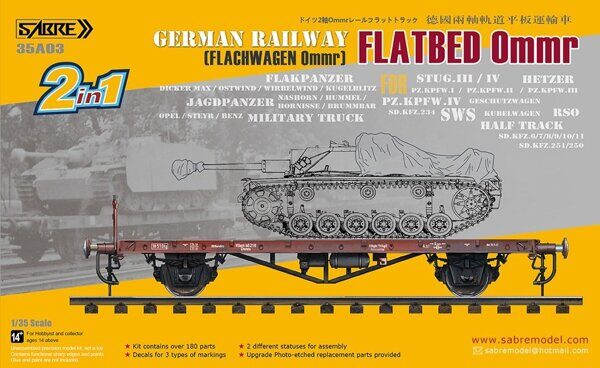35A03 1/35 German Railway FLATBED Ommr (2 in 1) FOR Any Light and Medium Tanks and Military vehicle