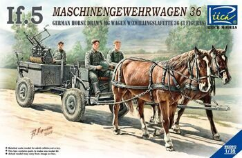 RV35012 1/35 WWII German IF-5 Horse Drawn MG Wagon with Zwillingslafette 36 (two horese & three figu
