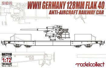UA72118 WWII Germany 128mm Flak 40 Anti-aircraft Railway Car