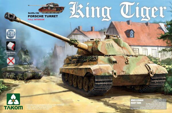 2074 1/35 WWII German Heavy Tank Sd.Kfz.182 King Tiger Porsche Turret w/interior [without Zimmerit]