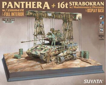 NO-001 1/48 PANTHER A W/ ZIMMERIT &FULL INTERIOR+16T STRABOKRAN W/ MAINTENANCE DIORAMA & DISPLAY