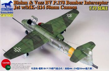 GB 7002 1/72 Blohm & Voss BV P178 Bomber Interceptor Jet w/MK-214 50mm Cannon