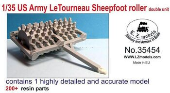 35454 1/35 US Army Letourneau Sheepfoot Roller Double Unit for MNA & LZM (Resin)