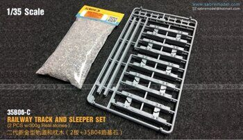 35B06-C 1/35 RAILWAY TRACK AND SLEEPER SET (2 PCS w/300g Real stones)